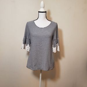 Charter club stripped blouse sz#-Small